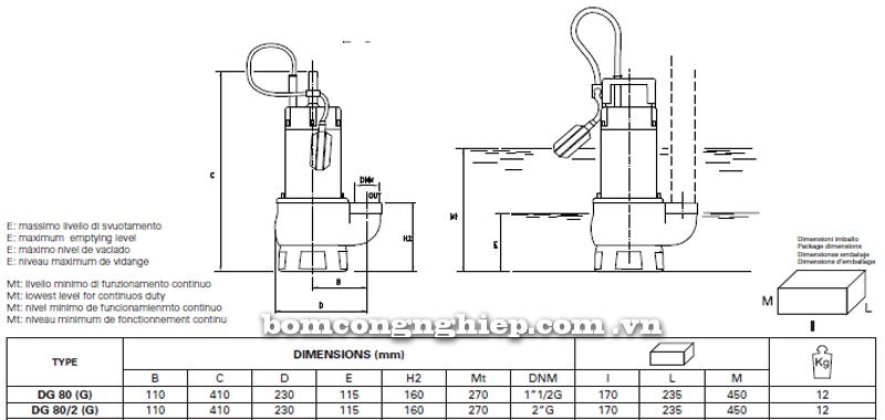 Máy bơm nước thải Pentax DG 80 bảng thông số kích thước