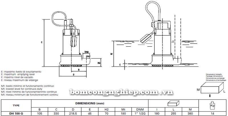 Máy bơm nước thải Pentax DH 100 bảng thông số kích thước
