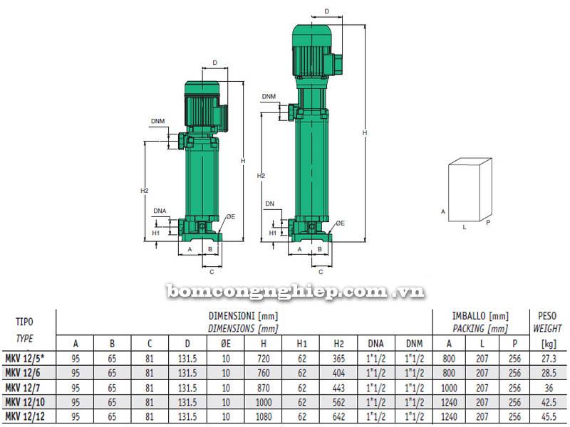 Máy bơm nước trục đứng Sealand MKV 12 bảng thông số kích thước