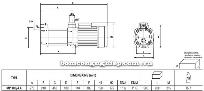 Máy bơm nước trục ngang Pentax MP 100/4 A bảng thông số kích thước