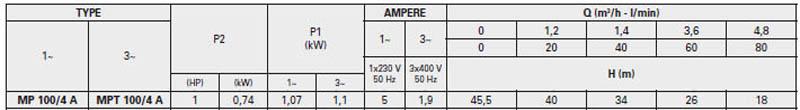 Máy bơm nước trục ngang Pentax MP 100/4 A bảng thông số kỹ thuật