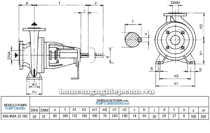 Máy bơm nước trục rời Matra MA 32-160 bảng thông số kích thước