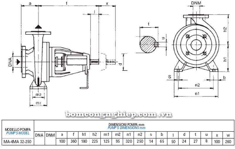 Máy bơm nước trục rời Matra MA 32-250 bảng thông số kích thước