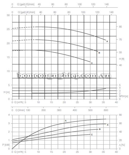 Máy bơm nước trục rời Pentax CA 40-125C biểu đồ hoạt động