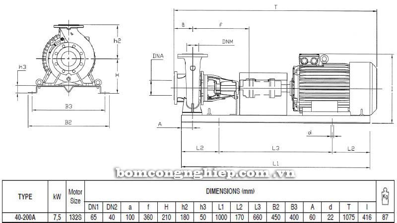Máy bơm nước trục rời Pentax CA 40-200A bảng thông số kích thước