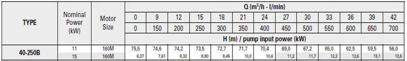 Máy bơm nước trục rời Pentax CA 40-250B bảng thông số kỹ thuật