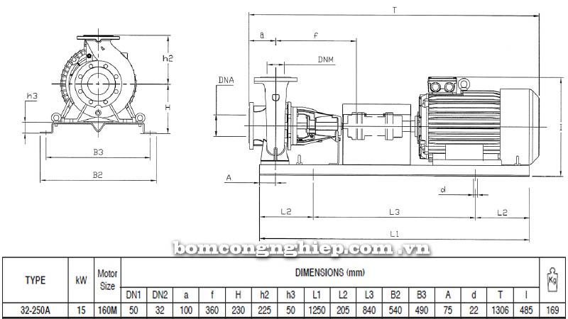 Máy bơm nước trục trần Pentax CA 32-250A bảng thông số kích thước