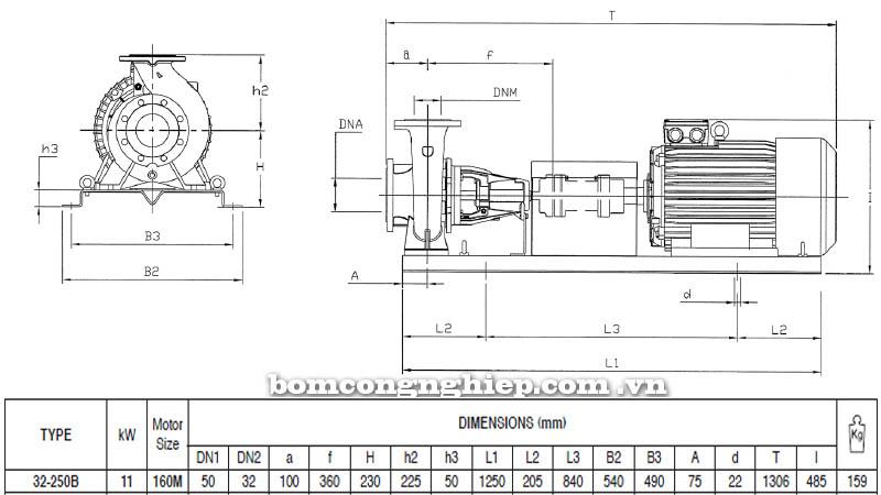 Máy bơm nước trục rời Pentax CA 32-250B bảng thông số kích thước