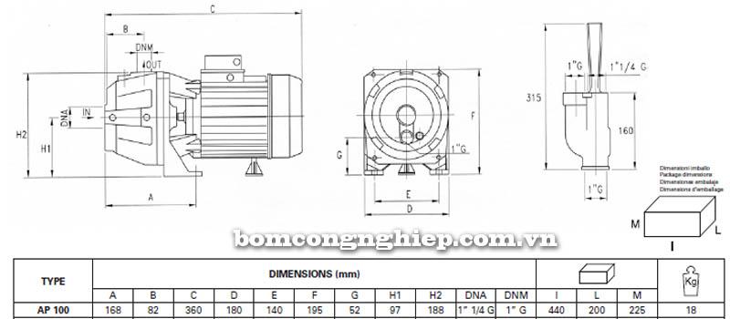 Máy bơm hút giếng Pentax AP 100 bảng thông số kích thước