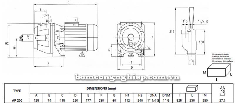Máy bơm hút giếng Pentax AP 200 bảng thông số kích thước