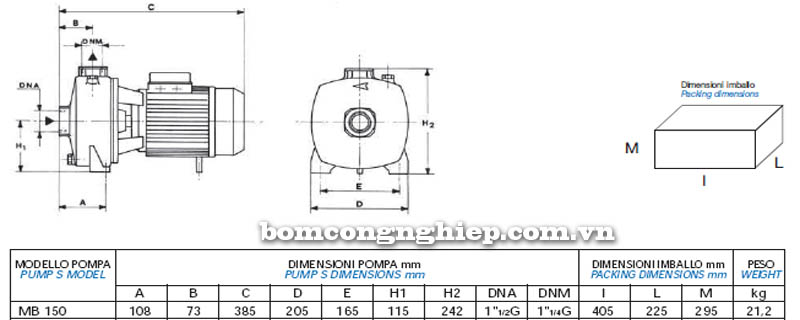 Máy bơm nước bán chân không Matra MB-150 bảng thông số kích thước