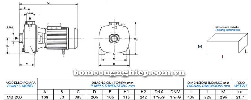Máy bơm nước bán chân không Matra MB-200 bảng thông số kích thước