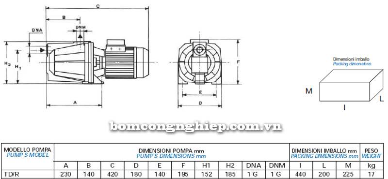 Máy bơm nước bán chân không Matra TD-R bảng thông số kích thước