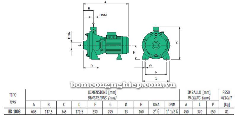 Máy bơm nước cao áp Sealand BK 1003 bảng thông số kích thước