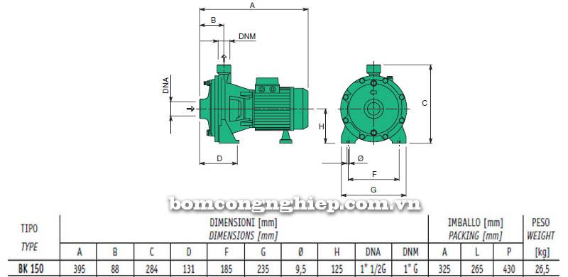 Máy bơm nước cao áp Sealand BK 150 bảng thông số kích thước