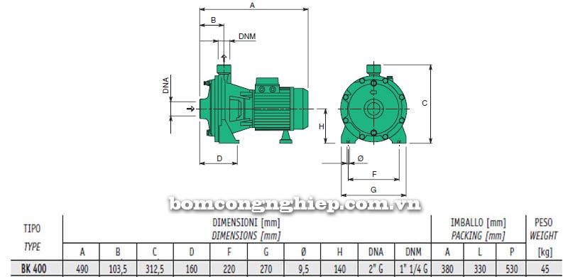 Máy bơm nước cao áp Sealand BK 400 bảng thông số kích thước