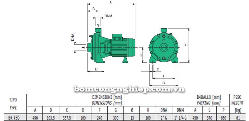 Máy bơm nước cao áp Sealand BK 750 bảng thông số kích thước