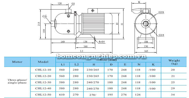 Máy bơm nước CNP CHL12 bảng thông số kích thước