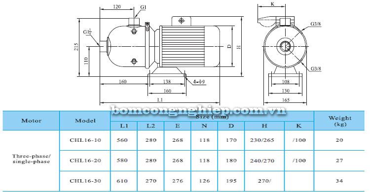 Máy bơm nước CNP CHL16 bảng thông số kích thước