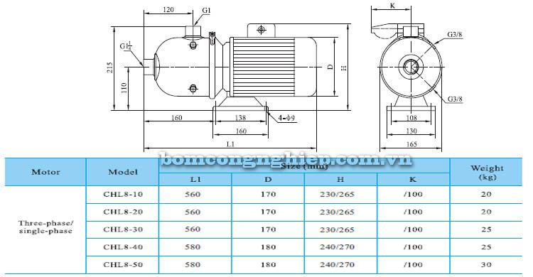 Máy bơm nước CNP CHL8 bảng thông số kích thước