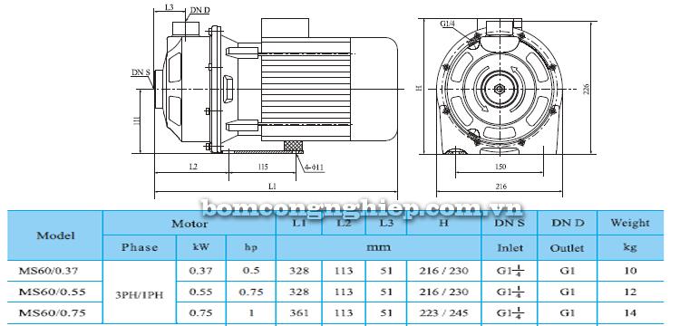 Máy bơm nước CNP MS 60 bảng thông số kích thước