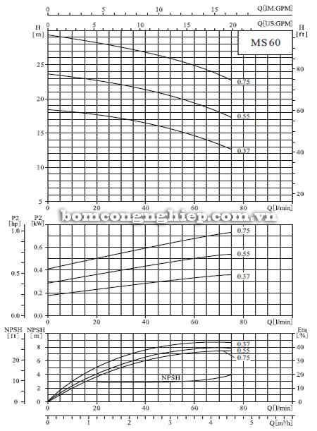 Máy bơm nước CNP MS 60 biểu đồ hoạt động
