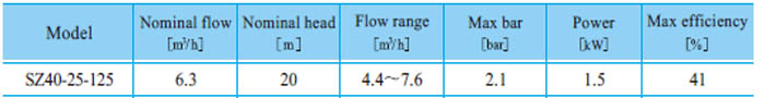 Máy bơm nước CNP SZ40 25-125 bảng thông số kỹ thuật