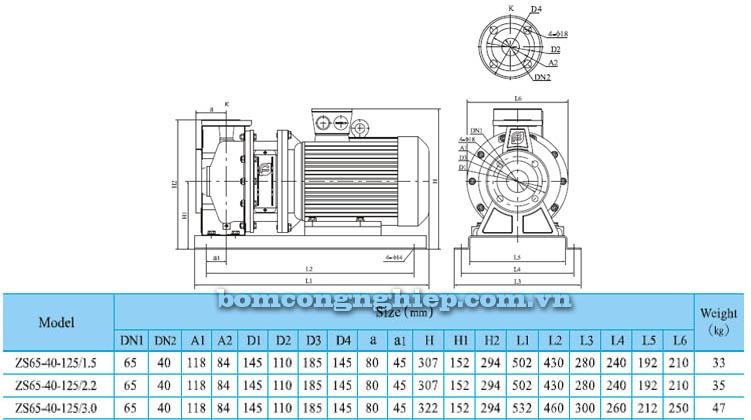 Máy bơm nước CNP ZS65 40-125 bảng thông số kích thước