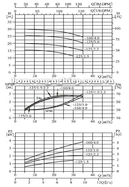 Máy bơm nước CNP ZS65 40-125 biểu đồ hoạt động