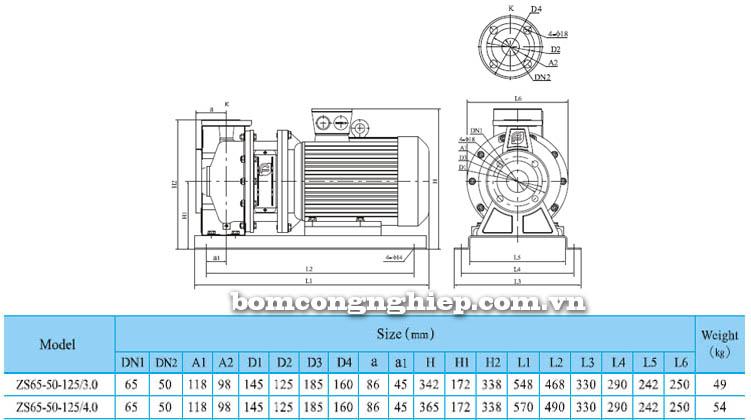 Máy bơm nước CNP ZS65 50-125 bảng thông số kích thước