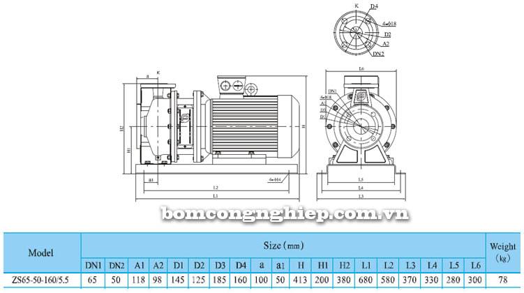 Máy bơm nước CNP ZS65 50-160 bảng thông số kích thước