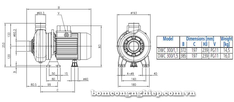 Máy bơm nước đầu Inox Ebara DWC 300 bảng thông số kích thước