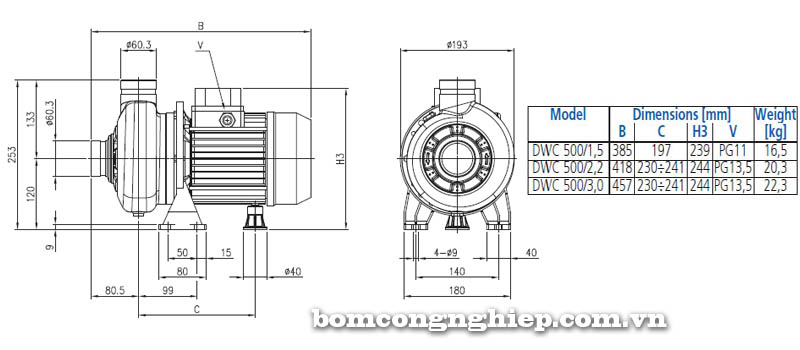 Máy bơm nước đầu Inox Ebara DWC 500 bảng thông số kích thước