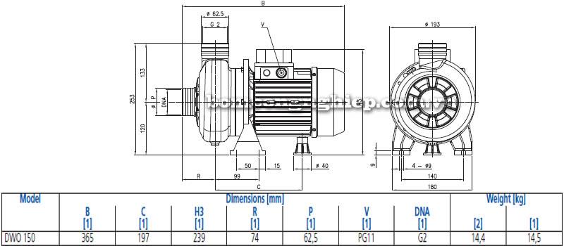 Máy bơm nước đầu Inox Ebara DWO 150 bảng thông số kích thước