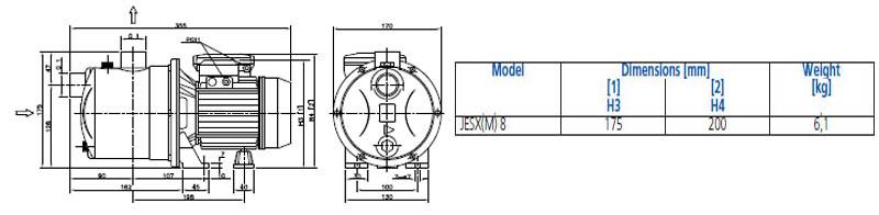 Máy bơm nước đầu inox Ebara JESXM 8 bảng thông số kích thước