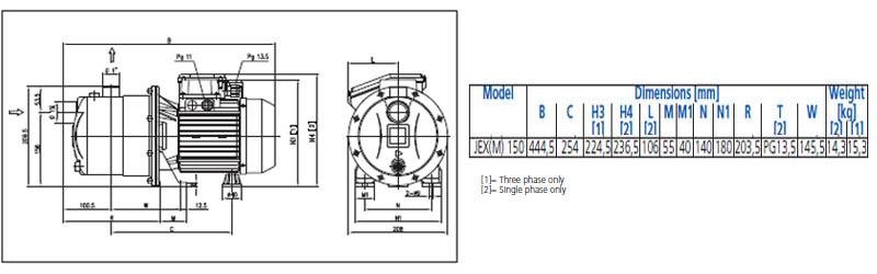 Máy bơm nước đầu inox Ebara JEX 150 bảng thông số kích thước