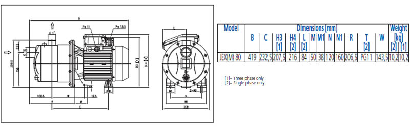 Máy bơm nước đầu inox Ebara JEX 80 bảng thông số kích thước