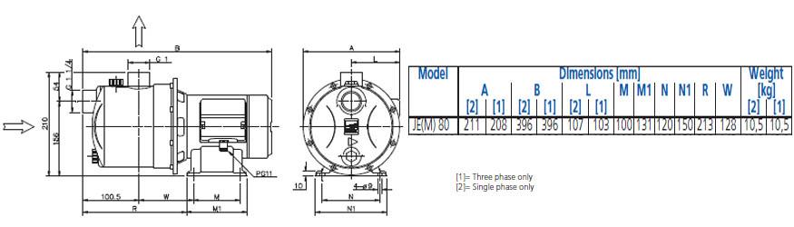Máy bơm nước Ebara JEM 80 bảng thông số kích thước