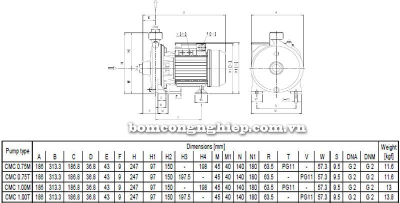 Máy bơm nước ly tâm Ebara CMC bảng thông số kích thước