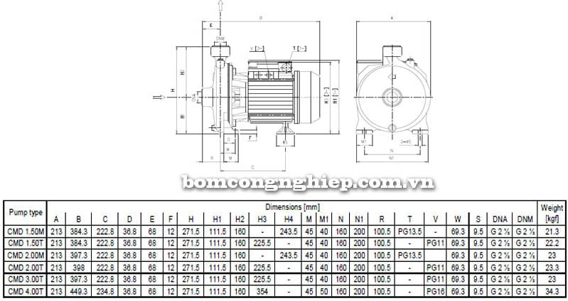 Máy bơm nước ly tâm Ebara CMD bảng thông số kích thước