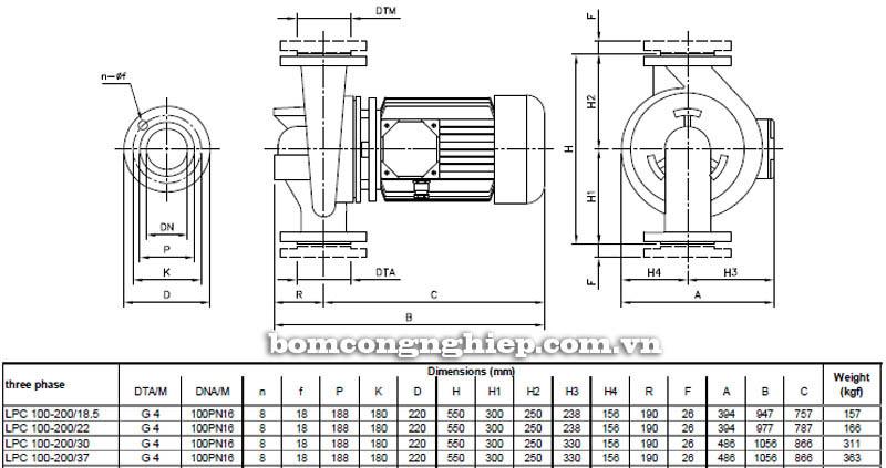 Máy bơm nước ly tâm Ebara LPC 100-200 bảng thông số kích thước