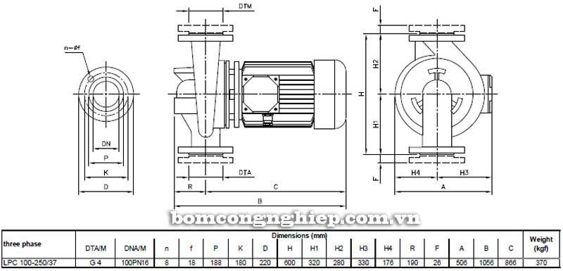 Máy bơm nước ly tâm Ebara LPC 100-250 bảng thông số kích thước