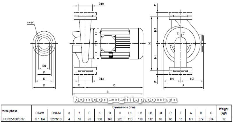 Máy bơm nước ly tâm Ebara LPC 32-100 bảng thông số kích thước
