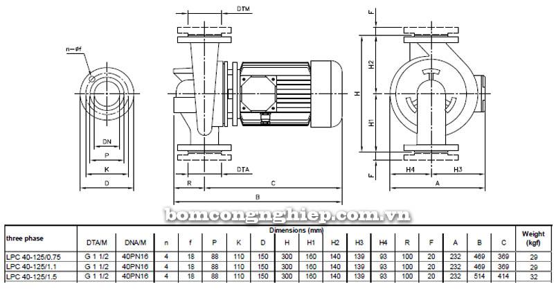 Máy bơm nước ly tâm Ebara LPC 40-125 bảng thông số kích thước