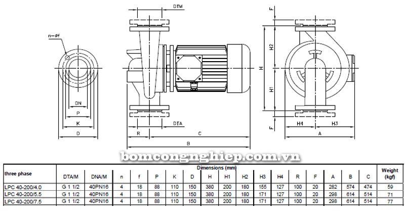 Máy bơm nước ly tâm Ebara LPC 40-200 bảng thông số kích thước