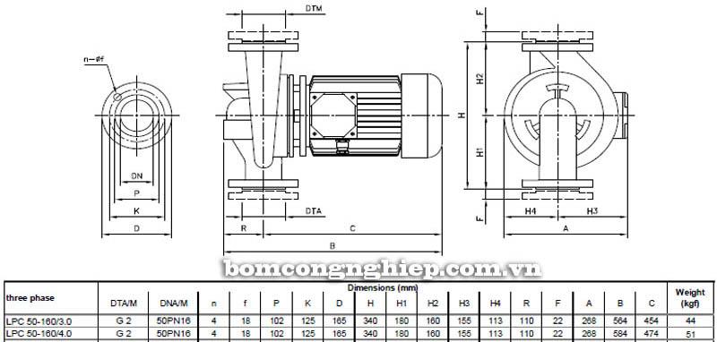 Máy bơm nước ly tâm Ebara LPC 50-160 bảng thông số kích thước