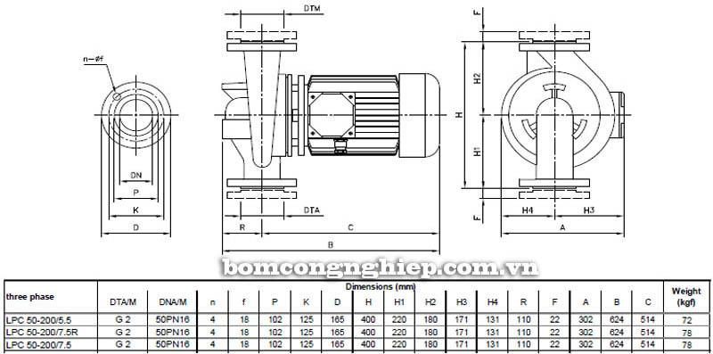 Máy bơm nước ly tâm Ebara LPC 50-200 bảng thông số kích thước