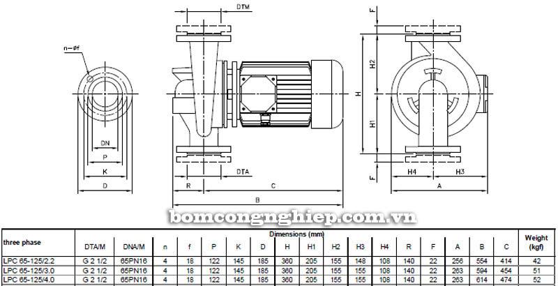 Máy bơm nước ly tâm Ebara LPC 65-125 bảng thông số kích thước