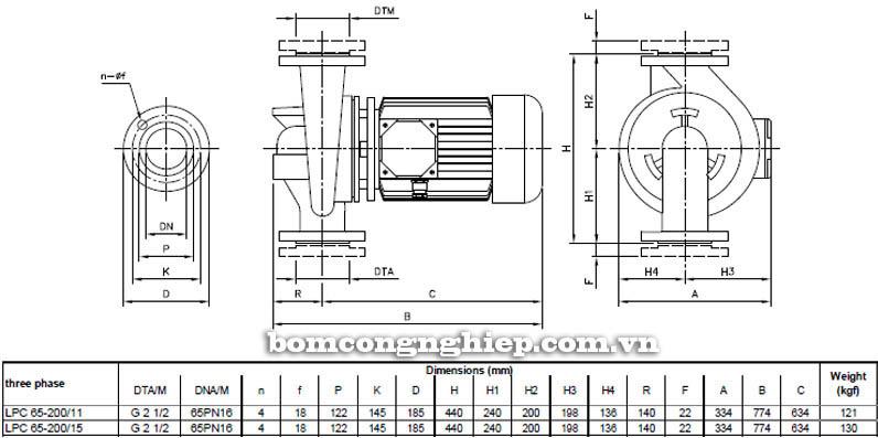 Máy bơm nước ly tâm Ebara LPC 65-200 bảng thông số kích thước