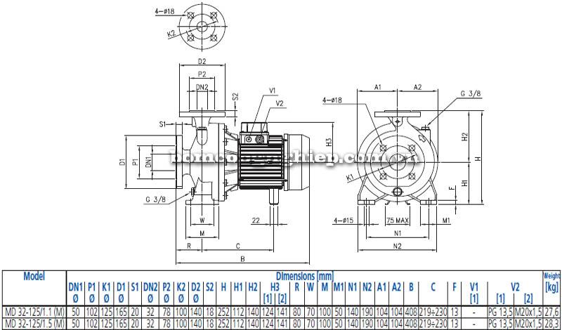 Máy bơm nước ly tâm Ebara MD 32-125 bảng thông số kích thước